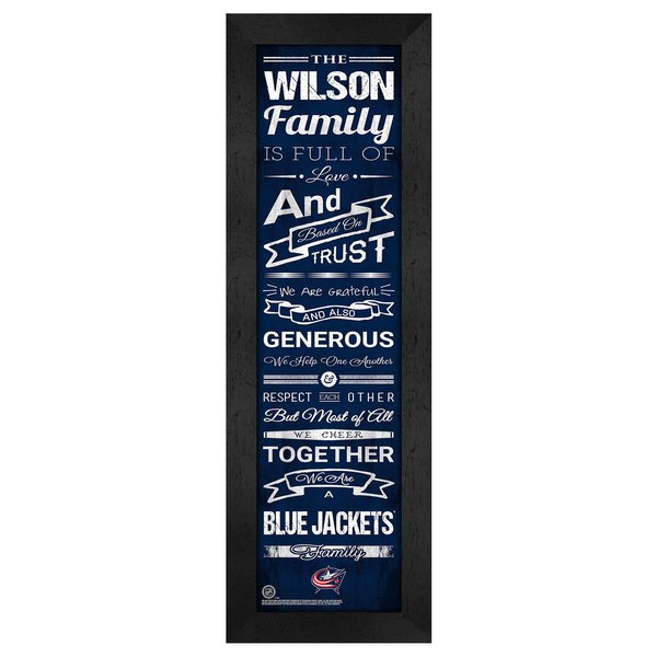 Columbus Blue Jackets Personalized Family Cheer Framed Print