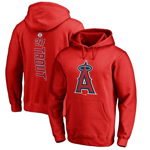 Men's Los Angeles Angels Mike Trout Fanatics Branded Red Backer Pullover Hoodie