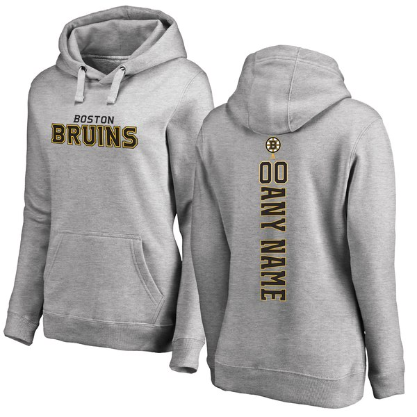 Women's Boston Bruins Fanatics Branded Ash Personalized Backer Pullover Hoodie