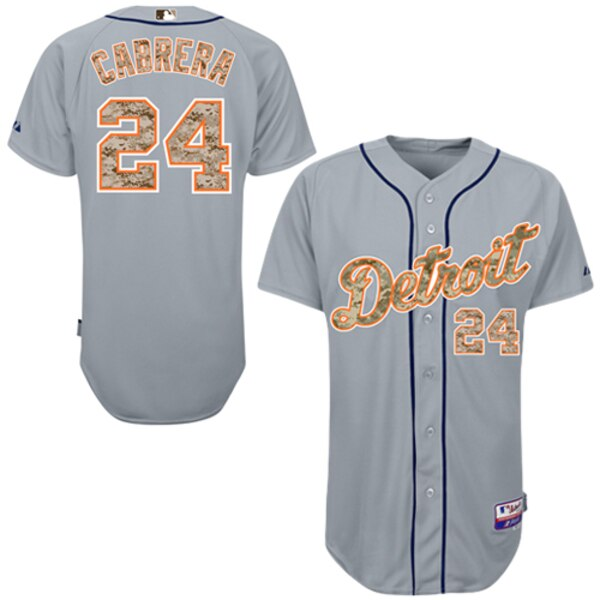 Men's Detroit Tigers Miguel Cabrera Majestic Gray USMC Player Authentic Jersey